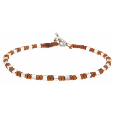 Large Square Bead Bracelet  Tan 1