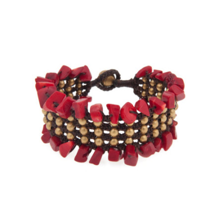Shell Beaded Cuff Red 1