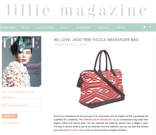 Lillie Magazine January 2013 - JADEtribe / jade tribe